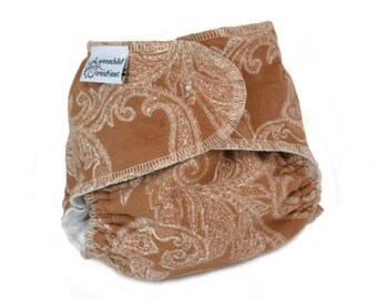 Cloth Diaper Fitted, One Size, Brown Paisley, Flannel - Add Snaps, Hook and Loop, or Pins