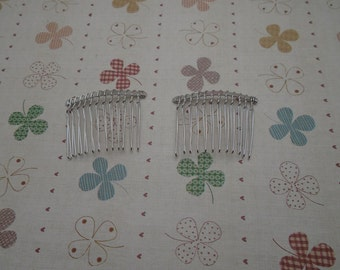 Hair Combs, 20 pcs Nickel Free Silver Color Finish 12 Teeth Barrette Pin 47x37mm