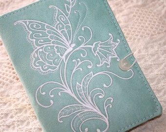Butterfly and Dragonfly embroidered   Kindle  Cover or Book Cover