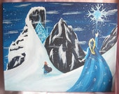 Frozen Princess Anna and Queen Elsa- Princess Art work Paintings on 11x14 Canvas /Nursery/Kids/ For the home/ Girls Room