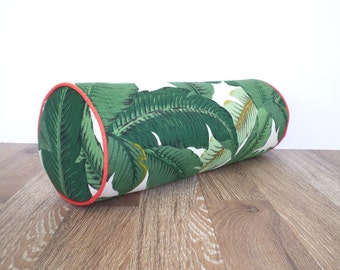 Round bolster pillow 20x7, tropical outdoor bolster for lounge chair, palm leaf pillow for garden bench, outdoor bolster swaying palm fabric