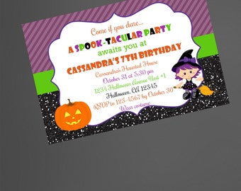 Halloween party invitation/Halloween birthday party invitation/the good witch invite