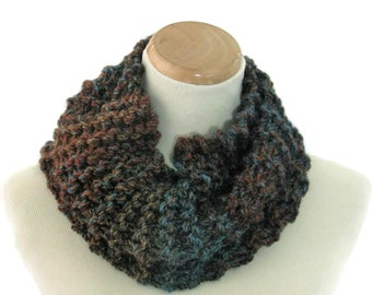 Neck Warmer, Knit Scarf, Bulky Scarf, Hand Knit Cowl, Circle Scarf, Infinity Scarf, Brown Teal Cowl, Tweed Cowl, Gift Ideas,