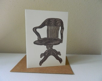 Handmade Library Chair Blank Note Card