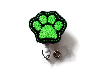 Paw Print Green - Nurse Badge Holder - Vet Badge Reel - Retractable Badge Holders - School Badge - Dog Badge Reel - Veterinarian Badge Clip