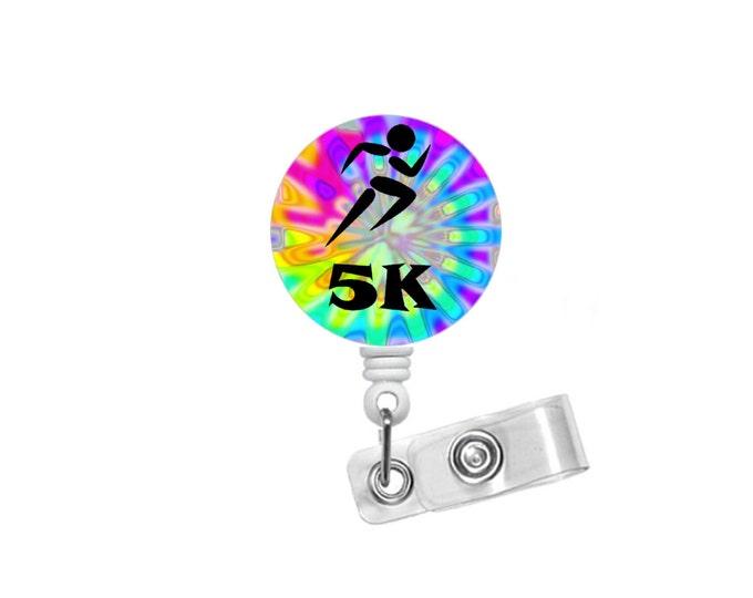 5K Running Badge - Tie Dye Badge Holder - Runner Badge Reel - Nursing Badge - Teacher Badge Reel - Medical Badge - Fitness Badge Reel - RN