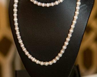 Freshwater pearls with Swarovski Crystal Rhondell Necklace and Bracelet Set