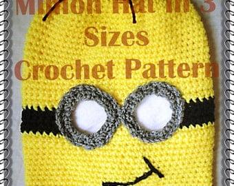 Minion Hat in 3 sizes Crochet Pattern  PDF-INSTANT DOWNLOAD