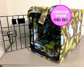 """CUSTOM  18"""" Fleece Dog Crate Cover and Pad"""