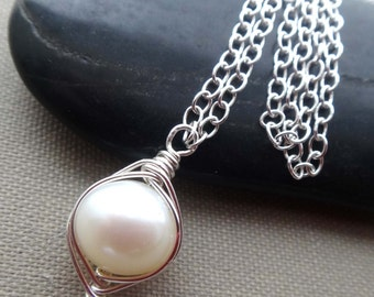 Pearl and silver necklace white pearl necklace single pearl necklace silver wire wrapped pearl necklace June birthstone solitaire pearl