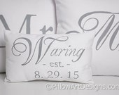 Mr and Mrs Pillow Covers with Small Name Est Date Pillow Grey and White Made in Canada