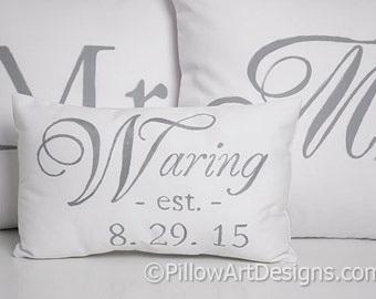 Wedding Mr and Mrs Pillow Covers with Small Name Est Date Pillow Grey and White Made in Canada