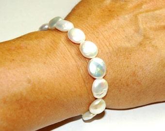 Coin Pearl Bracelet - Wedding Jewelry - Beach Jewelry - Genuine freshwater pearls - Pearl Jewelry