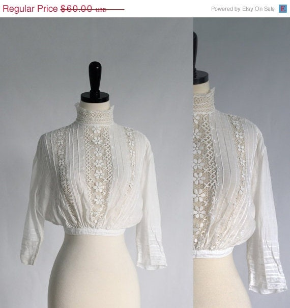 White Victorian High Neck Blouse 68