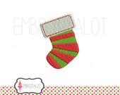 Christmas stocking machine embroidery design. 2 mini sizes. Cute Christmas embroidery for your projects. Fun socking embroidery.