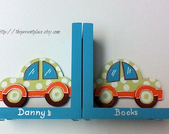 Hand painted car bookends, sage green,turquoise,aqua ,orange, polka dots,personalized,children's bookends,kids bookends,car bookends,