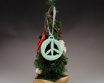 Large Peas Christmas Ornament Peace Sign Ceramic Celadon Peas Green