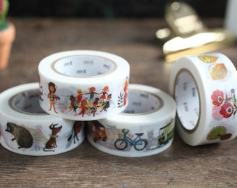 mt ex 2015 - Japanese Washi Masking Tape / Alain Gree Illustration Series 20mm -People, Animal, Plants,Vehicle at your choice