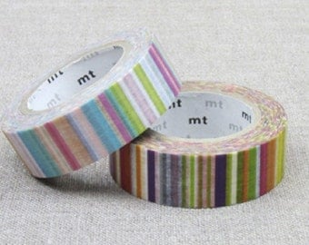 MT 2015 New - Japanese Washi Masking Tape / Vivis or Pastel Colorful Stripes for scrapbooking, packaging, party deco, card making