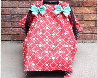 Car Seat Cover / Carseat Canopy - Neon Coral Geometric with Mint Bows