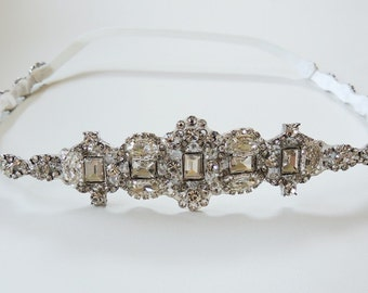 Leah Wedding bridal headpiece crystal headband headpiece satin ribbon vintage inspired art deco style