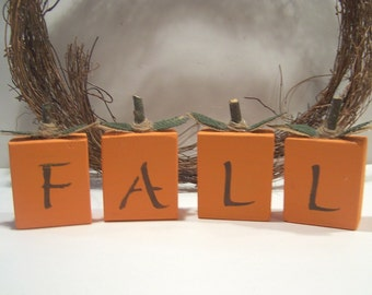 Wooden Fall Decorative Blocks or Shelf Sitters for Autumn Decor.