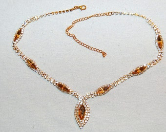 Vintage / Amber / Large / Necklace / Clear / Rhinestone / Sparkle / Bling / old / jewelry / jewellery