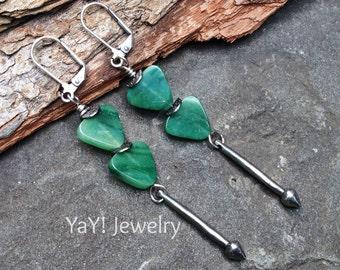 New Direction Earrings, Tribal Earrings, Tribal Jewelry, Canadian Jade, Dangle Earrings, Green, Bohostyle Jewelry, Etsy Jewelry, YaY Jewelry
