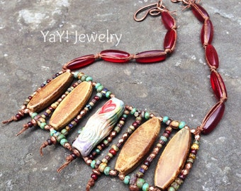 Im In Love Neckalce, Bib Necklace, Hand Knotted Neckalce, Heart, Gae, Earthy Jewelry,Red, Hippie Jewelry by YaY Jewelry