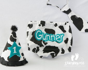 Cow Personalized Diaper Cover, Tie AND Hat for Cake Smash First Birthday - Baby - Boys
