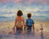 Sister Brother Beach Children Art Print, little brother, brunette, brother and sister, ocean, siblings, sitting,  Vickie Wade Art