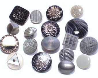 Vintage Glass Buttons Silver Black Gray Mixed Lot Button Collection Sewing Embellishment Buttons