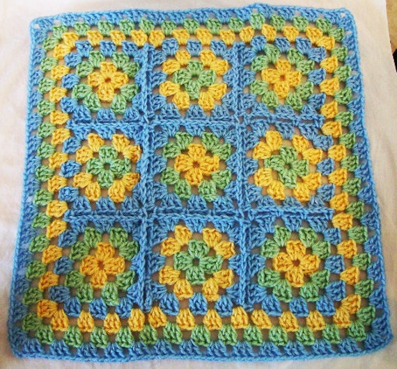 Doll size, Crochet Granny Square Throw Afghan in pastel blue, green, and yellow