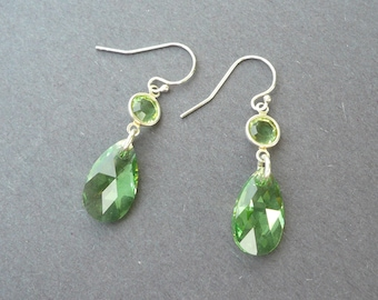 Swarovski Peridot Earrings, August birthstone