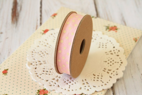 PINK with Cream dots fabric cotton blend ribbon