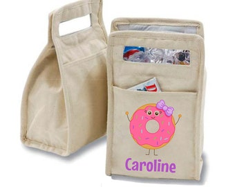 Personalized Donut Girl Insulated Cotton Lunch Bag - Personalized with Any Name and You Choose the Font!
