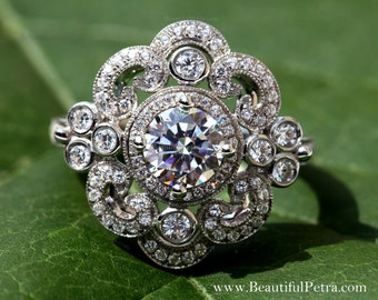 DUCHESS - Diamond Engagement Ring or Right Hand ring SEMI-MOUNT-14K white gold - Weddings- Luxury- Brides - Bp0011