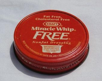 Vintage Miracle White Non Fat Dressing Red Metal Jar Lid, Regular Size