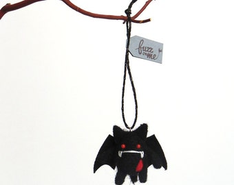 Halloween devil, Needle felted miniature vampire bat ornament, Cute goth, kitsch gift