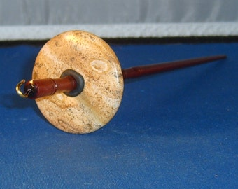 1.25 oz Picture Jasper Stone Top Whorl Drop Spindle - Handmade