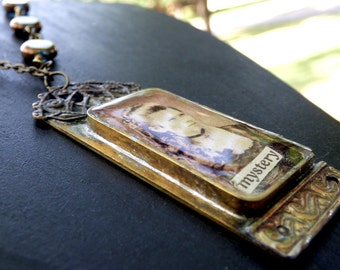 Handcrafted Resin Vintage Image Mystery Necklace, brass