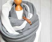 EXTRA CHUNKY Infinity Scarf with leather cuff, high street fashion infinity scarf, cozy SNOOD