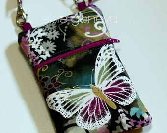 Butterfly Phone Case Leather Wristlet Optional Shoulder Strap iPhone 6 Plus Note Samsung - Black Grey Aqua Magenta Purple