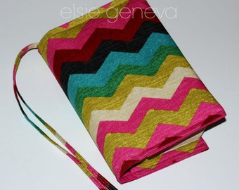 Chevron Bible Cover Made to Order  Colorful with Sewn in Zipper Storage Pocket Stripes ZigZag Personalized & Handles Options