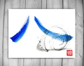 Zen Fine Art Snail Climbs Mount Fuji-Zen Painting, Basho haiku poem, Sumi e ink Original Zen Decor, japan tea ceremony illustration, taoist