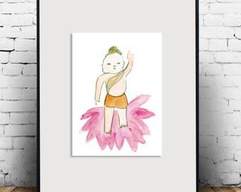 Baby Buddha, Jizo Zen Art Sumi e ink watercolor painting, japan tea ceremony, zen decor, jizo childrens nursery room art, buddhist art, zen