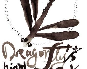 Dragonfly Zen painting, zen sumi-e ink painting, zen illustration, zen decor, japanese tea ceremony, enso, original calligraphy issa haiku