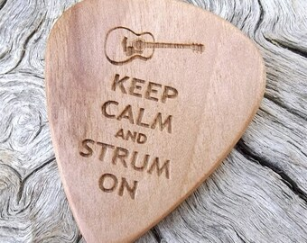 Wood Guitar Pick - Premium Quality - Handmade With Eastern Hop Hornbeam  - Laser Engraved - Actual Pick Shown - Engraved Both Sides