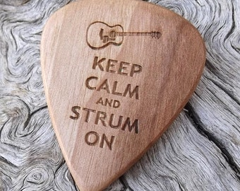 Handmade Laser Engraved Premium Wood Guitar Pick - Eastern Hop Hornbeam  - Actual Pick Shown - No Stock Photos