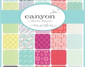 """CANYON Charm Pack - Kate Spain for Moda - 5"""" Inch Precut Fabric Squares - Floral Charm Pack - Bright Cheerful Fabric"""